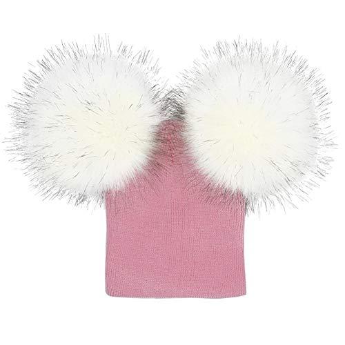 FeiliandaJJ Baby Hüte Kleinkind mädchen häkeln Strick Winter Hüte warm Faux Pelz Ball hat Beanie Kappe (A)
