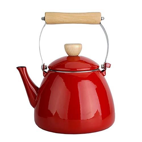 ANXI Teekanne Emaille-Kessel 2.4L Thick Blumen Teekanne Krug Red