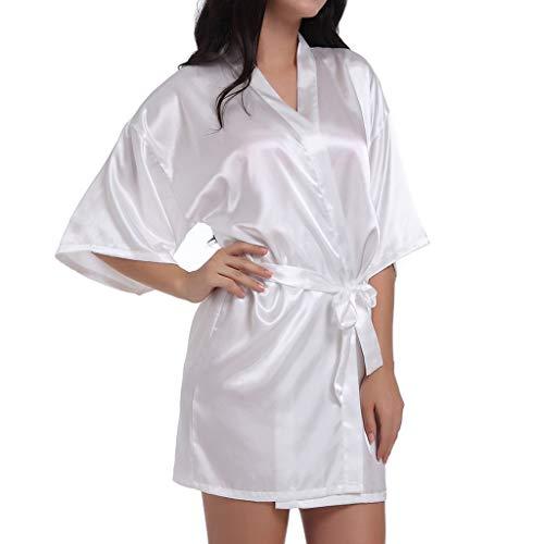 Mujeres Novia Boda Ropa de Dormir Kimono Suave Novia Albornoz Dama de Honor Pijamas de Regalo Sexy Pijamas de Talla Grande para Mujer (2XL, Blanco)