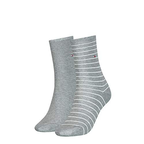 Tommy Hilfiger Frauen Small Stripe Socken, Middle Grey Melange, 35/38 (2er Pack)