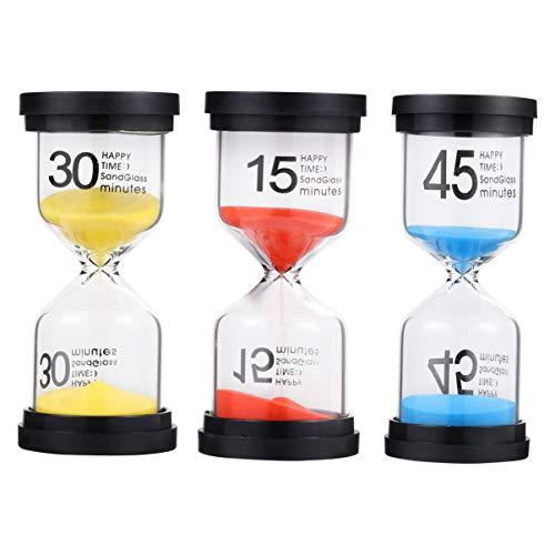 STOBOK Sanduhr, 3 Stück, 15 Minuten, Sanduhr, 30 Minuten und 45 Minuten, Timer, zum Zähneputzen, Teezeit, Spielzeug, Ornamente für Zuhause