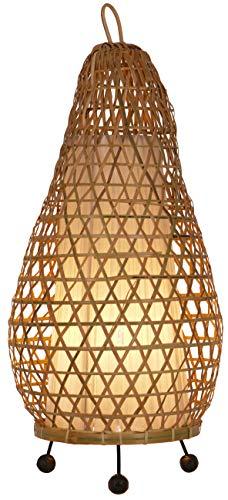 Guru-Shop Tafellamp/Tafellamp, Handgemaakt in Bali van Natuurlijk Materiaal - Model Hermigua 65cm, Bamboe, 65x32x32 cm, Tafellampen van Natuurlijke Materialen