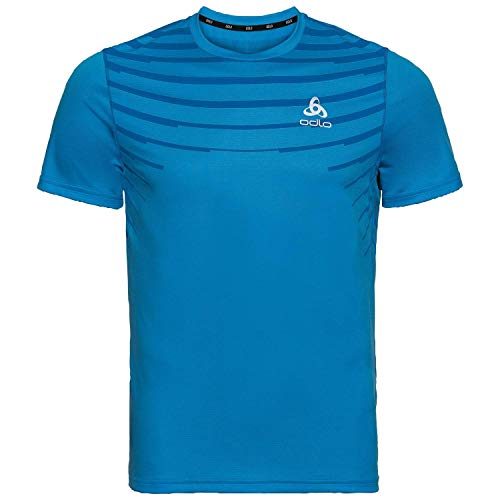 Odlo T-Shirt Ceramicool Baselay Crew Neck pour Homme S Bleu/imprimé Placed SS20