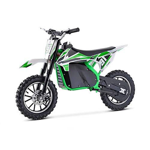 Moto Eléctrica Niños Desde 5 o 6 años | Minimoto Eléctrica Verde BIPOWER Speed Lion | Moto eléctrica 500W y 36V | También para Adultos < 60 kg