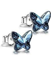 ANGEL NINA Regalo para ella, aretes para mujer, serie mariposa, plata 925 con Cristal de Swarovski, cada momento especial, exquisita caja de regalo