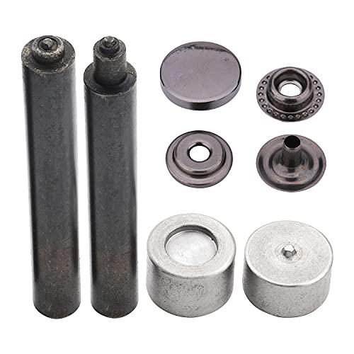 Trimming Shop Pernos de prensa con herramienta de fijación, cierres duraderos de 4 piezas, tapa de aleación de metal para manualidades en cuero, monederos (12,5 mm, plomizo, 20 unidades)