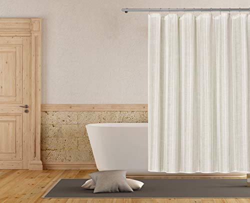 Home Maison Duschvorhang, gestreift, Leinen, strukturiert, schimmelresistent, für Badezimmer, wasserdicht, wasserabweisend & antibakteriell,, Beige, 183 x 183 cm