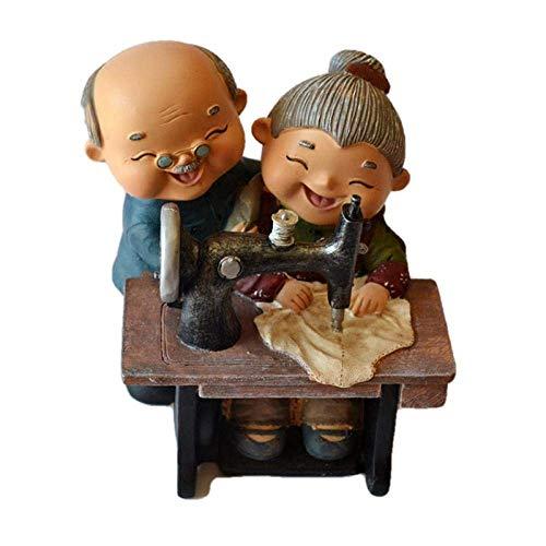 Sculptuur Dierlijke Standbeeld oude man en Oude Dame Stand By Naaimachine Piggy Bank Praktische decoratieve spaarpot.