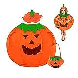 JOKILY Disfraz infantil de calabaza para Halloween, carnaval, disfraces, calabaza, cubo, halloween, fotos, botes, soporte de ropa, con bolsa