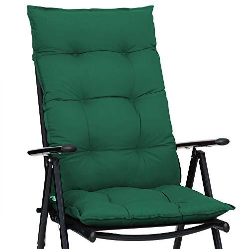 Detex Stuhlauflage 129 x 53 cm Viskoeffekt Indoor Outdoor Stuhlkissen Polsterauflage Hochlehner Sitzauflage grün