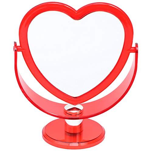 Minkissy Acryl Make-Up Herzspiegel Doppelseitiger Kosmetikspiegel Drehspiegel mit Ständer für Schminktisch Rot