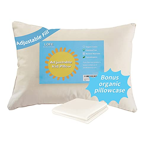 Lofe Organic Toddler Pillow with Pillowcase - 13X18 100% Organic Cotton Baby Pillows for Sleeping - Machine Washable - Adjustable Loft - Soft Safe Hypoallergenic - Perfect for Kids&Infant&Travel