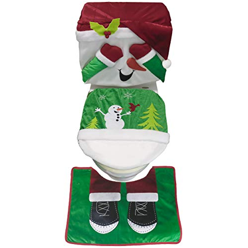 Valery Madelyn 3 Pack Traditional Snowman Christmas Toilet Seat Cover and Rug Set for Bathroom Decorations and Christmas Festival, Themed with Chair Covers (Not Included)