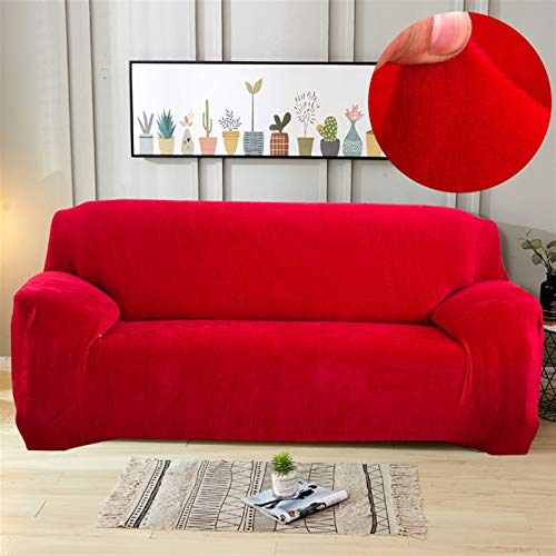 Plush Thick Sofa Cover Elastic For Living Room Couch Cover Velvet Dust-proof For Pets Slipcovers All-inclusive Sectional Sofa (Color : Red, 规格 : 4 seater 235 300cm)