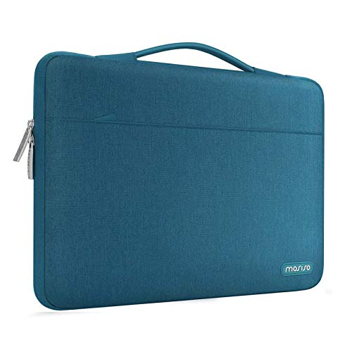 MOSISO 360 Protective Laptop Sleeve Compatible with MacBook Pro 16 inch,15 15.4 15.6 inch Dell Lenovo HP Asus Acer Samsung Sony Chromebook,Polyester Bag with Trolley Belt, Deep Teal