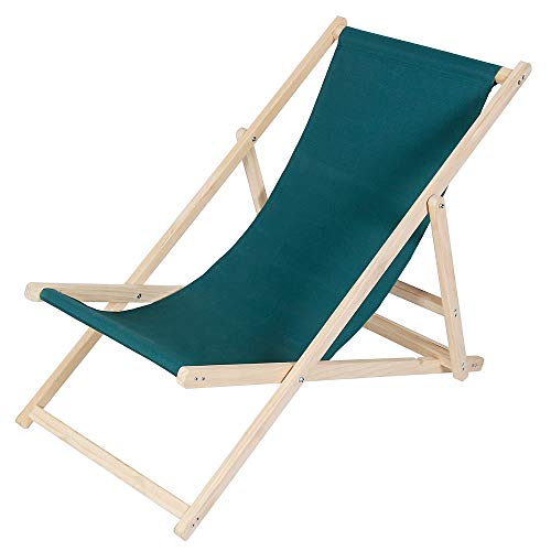 Melko Holzliegestuhl klappbar Sonnenliege Holzliegestuhl Klappliege Strandstuhl aus Holz in Grün