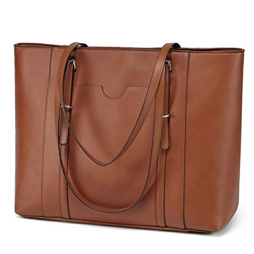 Laptop Tote Bag for Women, Vaschy PU Leather Water Resistant Handbag for Travel, Work, School Teacher Shoulder Bag Fits 15.6 inch Laptop (Brown)