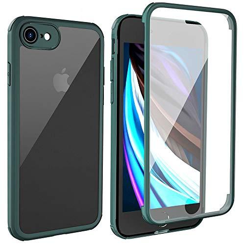 LOFTer iPhone SE 2020 Hülle 360-Grad-Ganzkörper Schutzhülle iPhone 8 Cover Eingebauter Displayschutzfolie Transparent Durchsichtig Schutzhülle für iPhone SE 2020/8 4.7 Zoll Nachtgrün