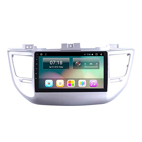 Flower-Ager Android 10 Doppel-DIN Autoradio In-Dash GPS Navi für Hyundai Tucson 2015-2018 unterstützt 1080P USB FM AM RDS BT freihändig kompatibel TPMS OBD2 DVR+Rückfahrkamera,WiFi+4g,4+64G