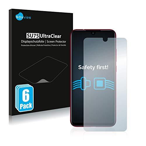 savvies Protector Pantalla Compatible con Xiaomi Redmi Note 7/7 Pro / 7S (6 Unidades) Pelicula Ultra Transparente