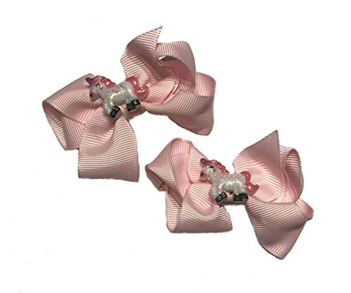 Lot de 2 nœuds à cheveux pour fille Motif licorne Blanc rose