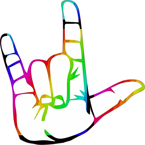 StickerTalk Rainbow ASL I Love You Vinyl Sticker, 5 inches by 5 inches
