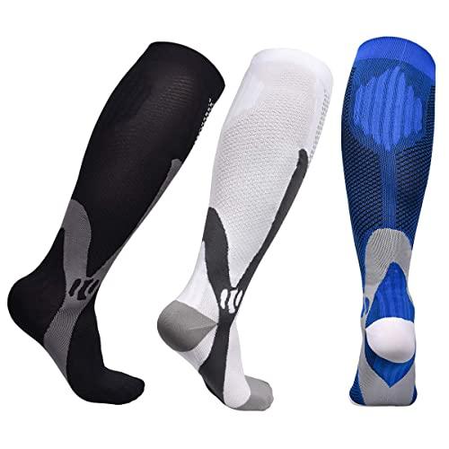 Miavogo 3 Par de Medias de Compresión para Hombre, Medias de Soporte Con Elástico, Calcetines de Compresión Hombres, Adecuado para Deportes, Viajes, Fitness(2XL/3XL)