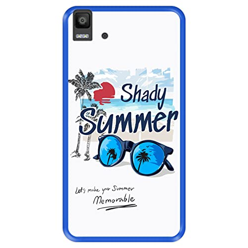 Hapdey Funda Azul para [ Bq Aquaris E5s - E5 4G ] diseño [ Verano, Vacaciones, Playa - Shady Memorable Summer ] Carcasa Silicona Flexible TPU