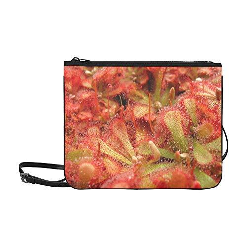 N\A Kupplungen und Abendtaschen Fleischfressende Pflanze Rosa Plant Wallpaper Verstellbarer Schultergurt Umhängetasche Für Kinder Für Frauen Mädchen Damen Taschen Umhängetasche Mode