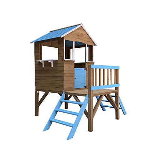 Outdoor Toys Casetta per Bambini in Legno Blue Melody 3,23 m² de 198x170x197 cm con Portico e Scalette