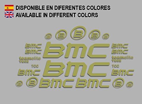Ecoshirt 8D-LAPH-T814 Aufkleber BMC F167 Vinyl Adesivi Decal Aufkleber-Set públicŸ MTB Stickers Bike, Gold