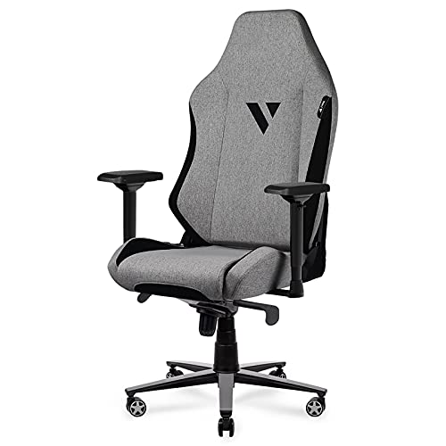 Xburan Gaming Chair 350lb Big and Tall High Back Computer Office Chair Fabric Ergonomic Racing Reclining Chair with 4D Armrests Swivel Tilt Rocker Seat Height Adjustment (Beige)