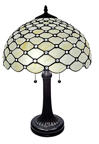 Amora Lighting Tiffany Style Table Lamp Banker Jeweled 26