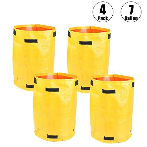 Bolsas de cultivo de jardín de 7 galones, duraderas, para cultivo de plantas al aire libre, interior, verduras, bolsas con asa de acceso a solapa, impermeables, (amarillo), Paquete de 4 unidades.