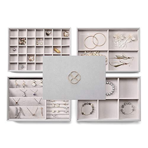 Vlando Jewelry Tray - Faux Leather Multi-Layer Jewelry Earring Necklace Bracelet Rings Display Storage Organizer for Desktop Drawer, 4-Layer w/Lid, Grey