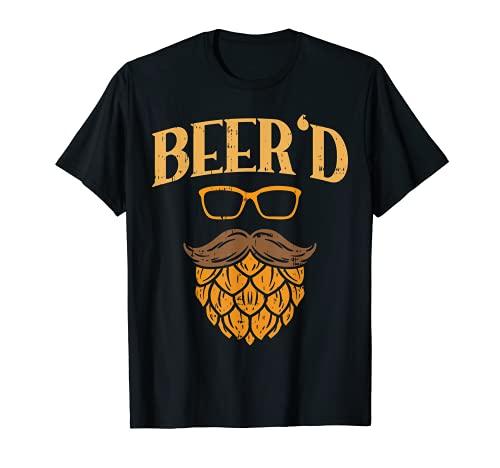 Uomo Beerd Beer Face Hops Beard Homebrew Fathers Day Men Dad Gift Maglietta