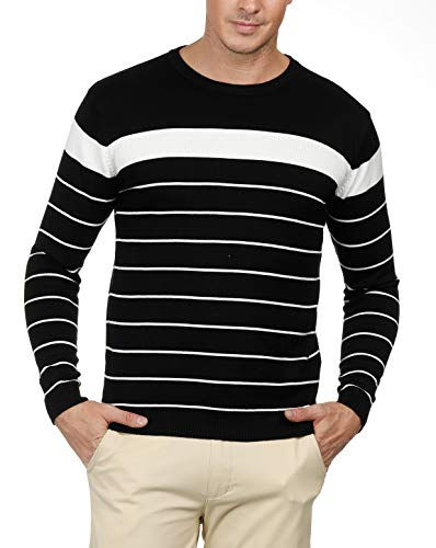 PAUL JONES Comfy and Cotton Sweaters for Men Crewneck Striped Knit Sweater (XL,Black)