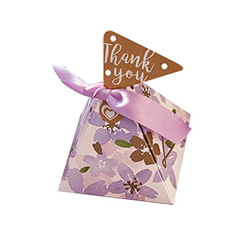 Colias Wing 50 pcs Adorable Cherry Blossoms Pattern Pyramid Shape Stylish Design Wedding Birthday Party Favor Candy Boxes with Ribbon-Small-Purple