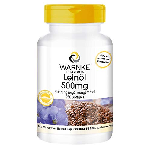 Leinöl Kapseln - pflanzliche Omega 3-6-9 Kapseln - hochdosiert - Flaxseed Oil 500mg - 250 Softgels - Großpackung