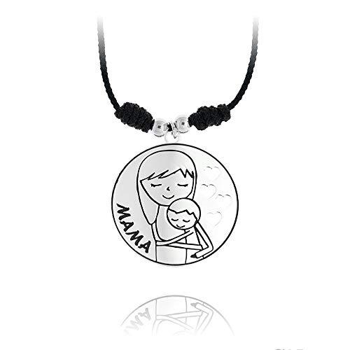 925m Silber Collier Sterling rodiada MOM Makramee Schnur 40cm. Mutterspeisenschätzchen Anhänger Herz durchbrochenen