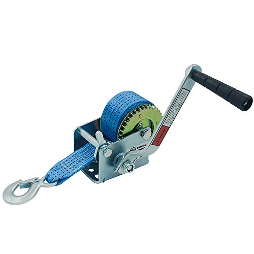 OPENROAD 600lbs Boat Trailer Winch with 6m Blue Strap,Portable Hand Winch with Crank Handle,Heat Treated Gear Manual Winch
