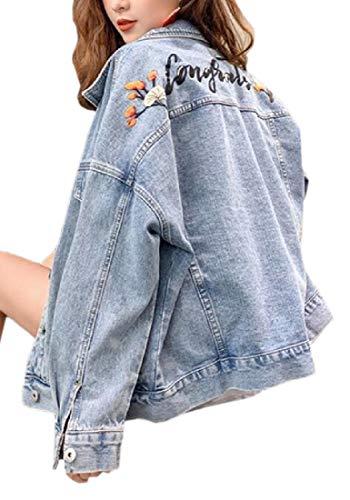 dahuo Damen Jeansjacke Oversize Print Washed Casual Jeansjacke Gr. Medium, Siehe Abbildung