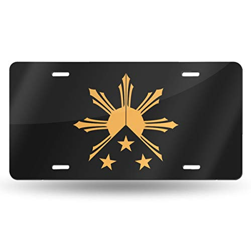 BaPaLa Tribal Philippines Filipino Sun and Stars Flag Personalized License Plate Decorative Front Plate 6 X 12 Inch