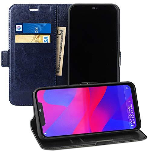 Acvensity BLU Vivo Xi + case, 6.2 case, flip Leather Wallet with Credit Card Slot Side Cash Pocket Side Magnetic Buckle, only for BLU Vivo Xi+ V0310WW, (Black) (Navy Blue)