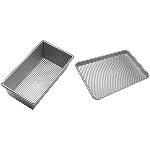 USA Pan Bakeware Aluminized Steel Loaf Pan, 1 Pound, Silver & Pan Bakeware Half Sheet Pan, Warp Resistant Nonstick Baking Pan, Made in the USA from Aluminized Steel