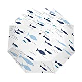 Pescados Negros Blancos Arte Paraguas Plegable Hombre Automático Abrir y Cerrar Antiviento Protección UV Ligero Compacto Paraguas para Viajes Playa Mujeres Niños Niñas