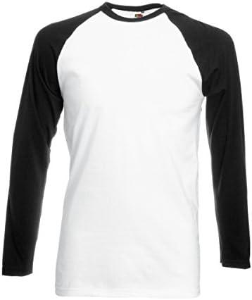 Fruit of the Loom Camiseta Béisbol Manga Raglán Larga Hombre Blanca/Negra