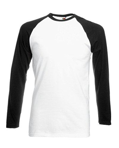 Fruit of the Loom T-Shirt à manches longues pour homme Motif Baseball T-Shirt sans manches en coton pour homme 5 couleurs - Blanc - Small