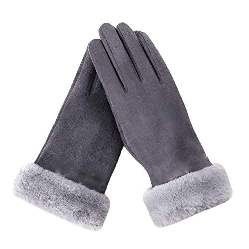 ZRXNDLS Damenhandschuhe Winter Warmhalten Handgelenkhandschuhe Niedliche rosa Schwarze hautfarbene Handschuhe Winddicht Warm Plus Samthandschuhe,Gray