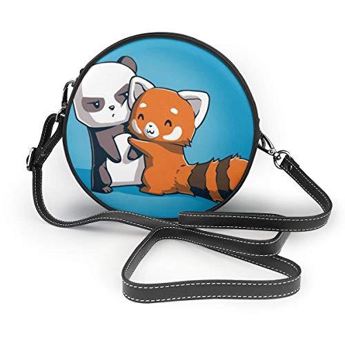 Cartoon Animal Panda Print Bolsos bandolera redondos Bolso de hombro para mujer Correa de cadena de cuero PU...